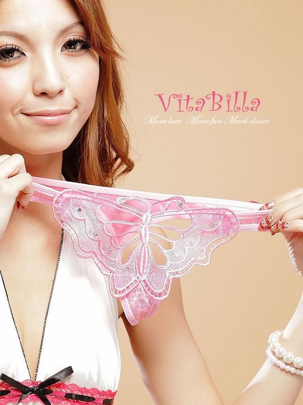 エロ下着の通販商品:蝶柄Tバック1502ピンク・イメージ写真4