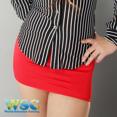 エロ下着の通販商品:丈25cmのタイトスカート・赤E2511・着用写真2
