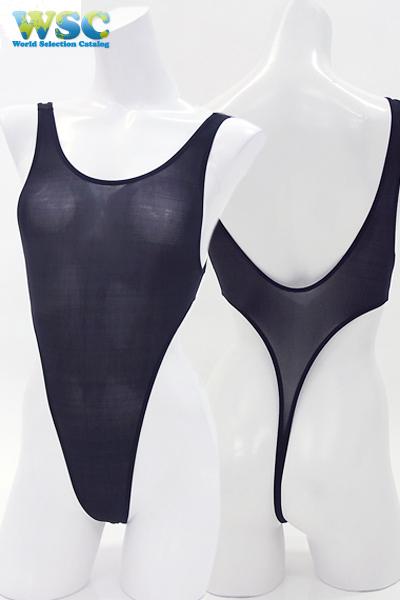 エロ下着の通販商品:ストッキング生地のハイレグ・レオタード・3940黒・イメージ写真5