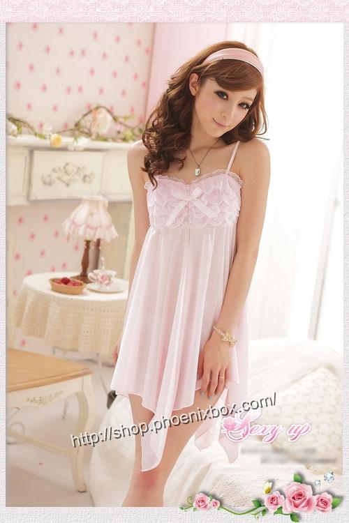 エロ下着の通販商品:ミニドレス風ベビードール・SS011ピンク・イメージ写真1