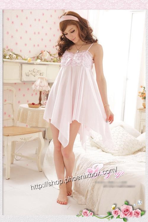 エロ下着の通販商品:ミニドレス風ベビードール・SS011ピンク・イメージ写真2