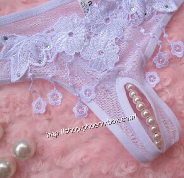 エロ下着の通販商品:パール付のオープンクロッチE6022・白・イメージ写真2