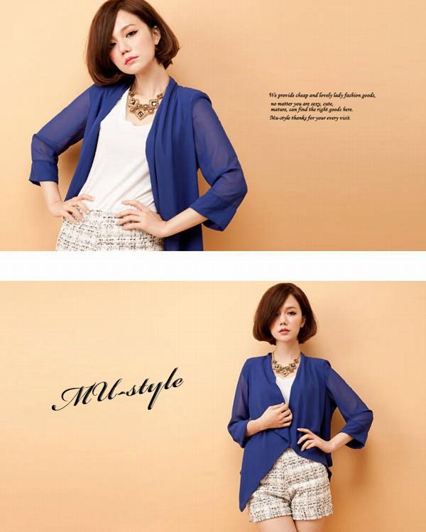 ボディコン通販の商品:七分袖カーディガン・ブルー・mst0045・素人着用写真3