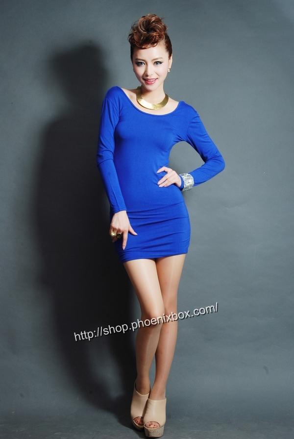 ボディコンワンピ通販商品:タイトボディコンワンピ・20301・青・イメージ写真1