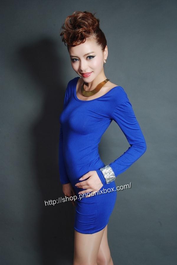 ボディコンワンピ通販商品:タイトボディコンワンピ・20301・青・イメージ写真3