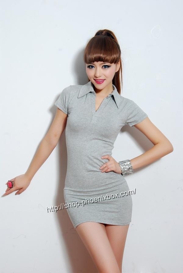 ボディコン通販の商品:半袖のミニタイトワンピ・ライトグレー40042・イメージ写真1