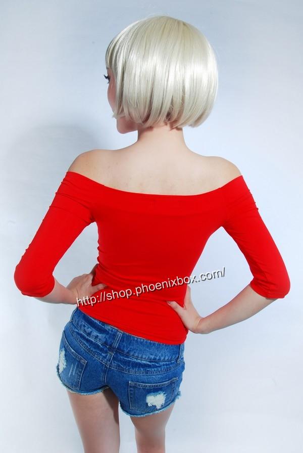 ボディコン通販の商品:7分袖オフショルダー・Tシャツ・赤90012・素人着用写真3