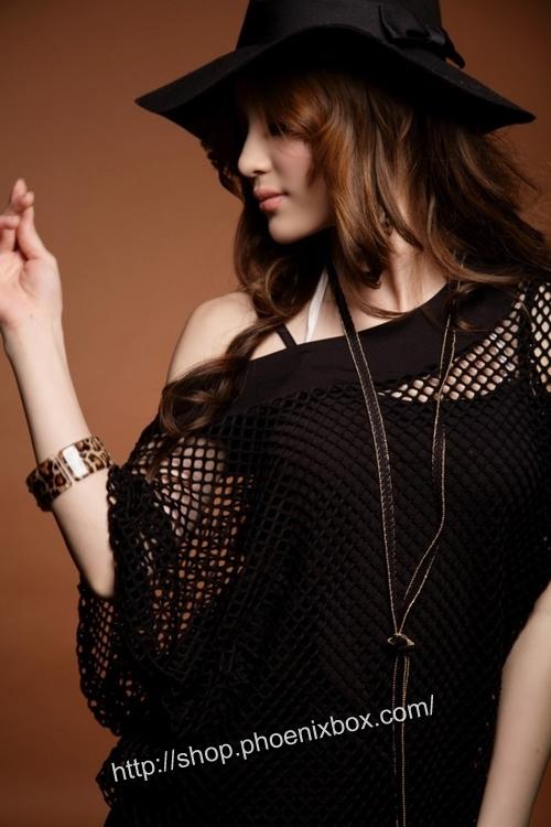 ボディコン通販の商品:網ニットワンピ・黒22221・イメージ写真2