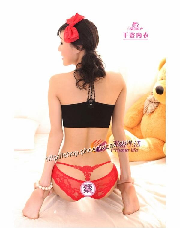 エロ下着の通販商品:バックは蝶のモチーフTショーツM1060・赤・イメージ写真2
