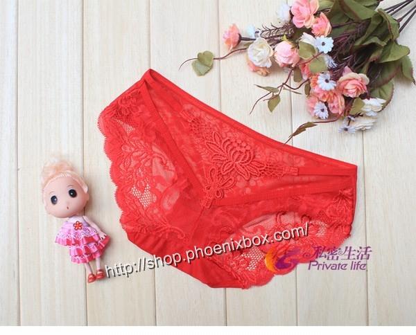 エロ下着の通販商品:バックは蝶のモチーフTショーツM1060・赤・イメージ写真3