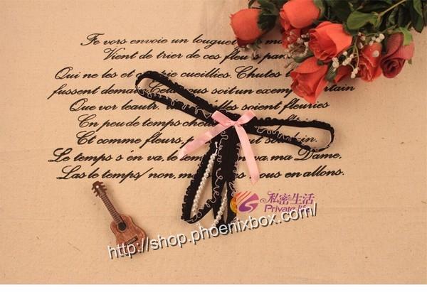 エロ下着の通販商品:パール付き・オープンTバック・ピンク・イメージ写真1