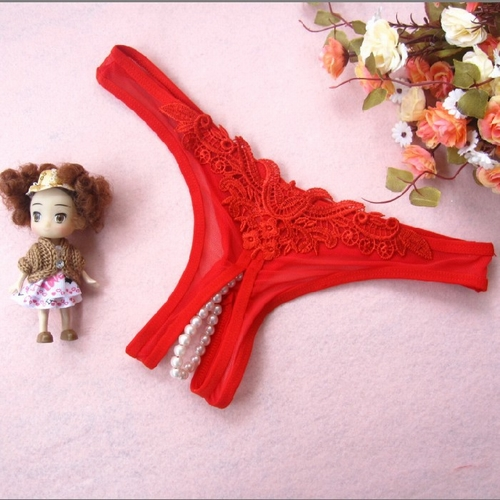 エロ下着の通販商品:パール付きオープンクロッチ・赤・イメージ写真1