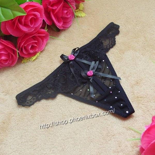 エロ下着の通販商品:レースフリル付きのメッシュTバックST7160・黒・イメージ写真1