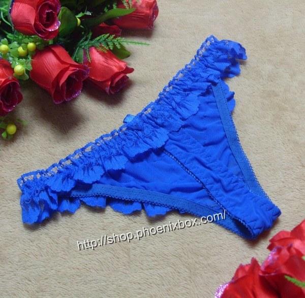 エロ下着の通販商品:贅沢レースの可愛いTバック・ブルー・イメージ写真5