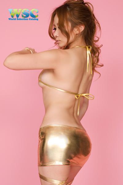 ボディコン通販商品:光沢タイトスカート・ゴールドE2001・イメージ写真2