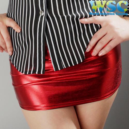 ボディコン通販商品:光沢タイトスカート・赤E2001・イメージ写真2