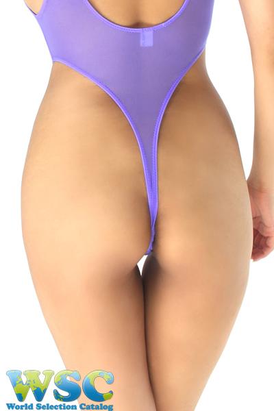 エロ下着の通販商品:ストッキング生地のハイレグ・レオタード・3940紫・イメージ写真7