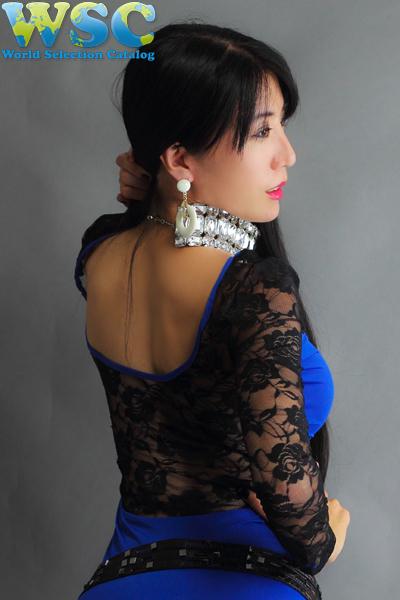 ボディコン通販の商品:長袖タイトワンピ・ブルーE4100BU・イメージ写真4