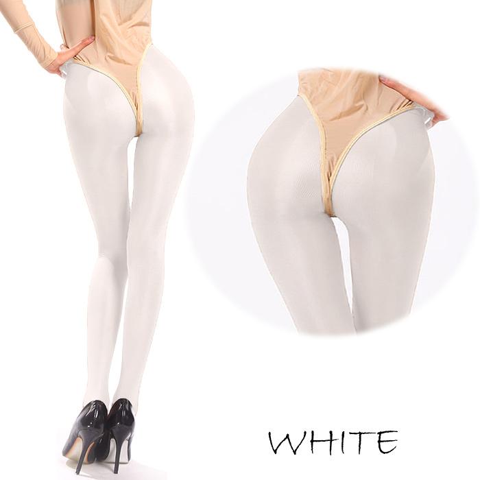 エロ下着の通販商品:・オールスルー光沢パンスト・白DY0178・イメージ写真