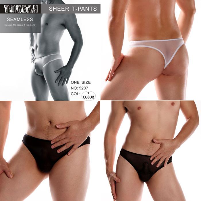 エロ下着の通販商品:ストッキング素材の無地透けTバックDY5237・ベージュ・イメージ写真3