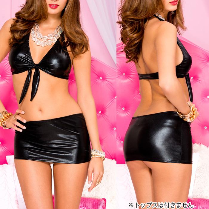 エロ下着の通販商品:25cm丈の光沢ミニスカートML156・黒・イメージ写真3