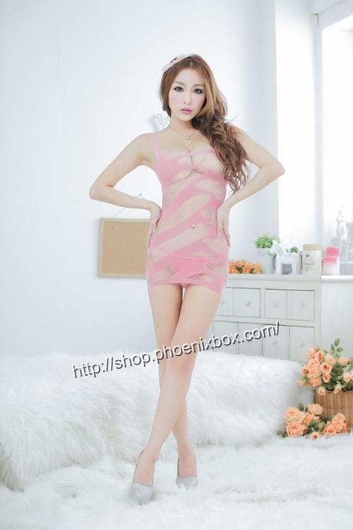 エロ下着の通販商品:ボディコン風ボディストッキング・ピンク・イメージ写真1