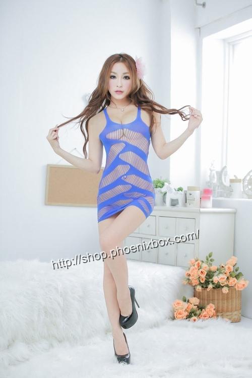 エロ下着の通販商品:ボディコン風ボディストッキング・ブルー・イメージ写真1