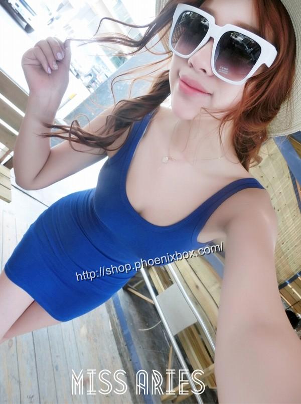 ボディコンの通販商品:ノースリーブ超弾力ボディコン・ブルー・イメージ写真5