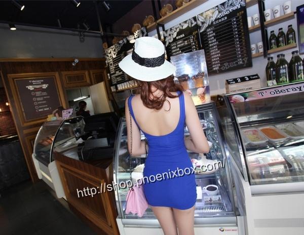 ボディコンの通販商品:ノースリーブ超弾力ボディコン・ブルー・イメージ写真2