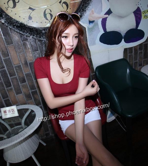 ボディコン通販商品:セクシーチビT・ワインレッドMA012・イメージ写真2