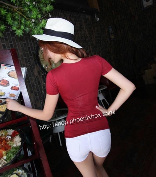 ボディコン通販商品:セクシーチビT・ワインレッドMA012・イメージ写真3