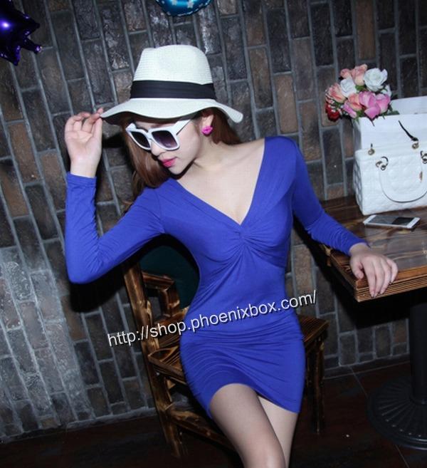 ボディコン通販商品:深Vネック長袖タイトワンピMA9626・ブルー・イメージ写真1