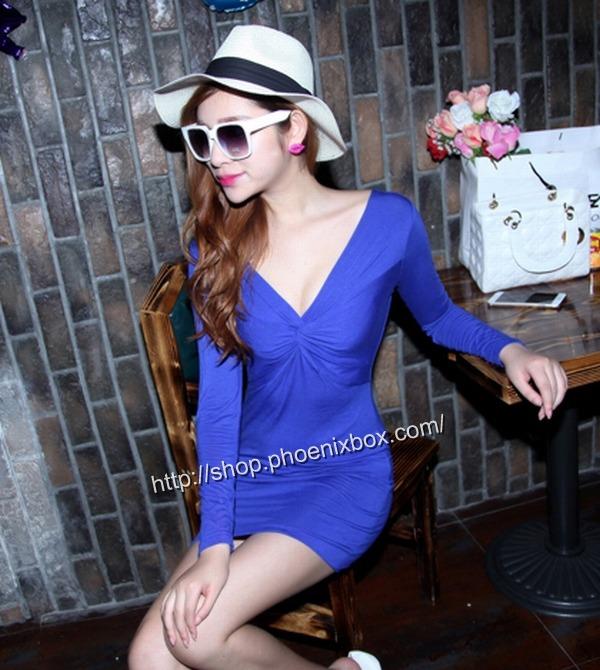 ボディコン通販商品:深Vネック長袖タイトワンピMA9626・ブルー・イメージ写真2