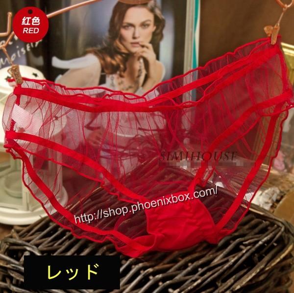 エロ下着の通販商品:フルバックのメッシュ素材ショーツM1153・赤・イメージ写真