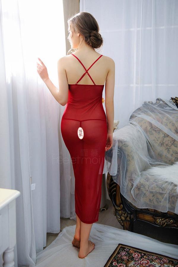 エロ下着の通販商品:スリット入りロングベビードール赤・8806・イメージ写真2