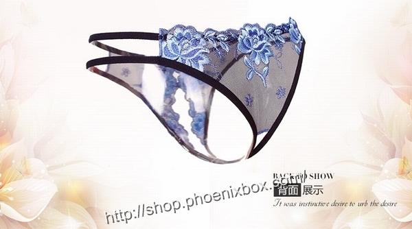エロ下着の通販商品:花柄レースのオープンクロッチ・黒・イメージ写真3