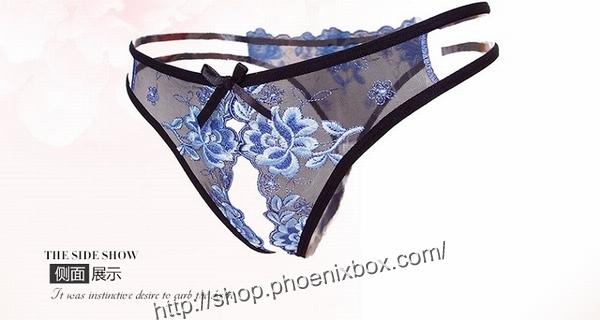 エロ下着の通販商品:花柄レースのオープンクロッチ・黒・イメージ写真7