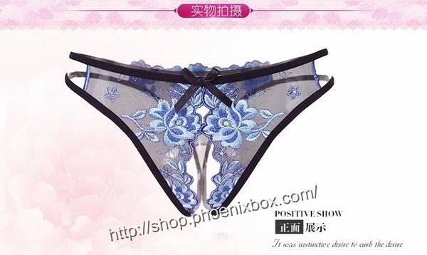 エロ下着の通販商品:花柄レースのオープンクロッチ・黒・イメージ写真8