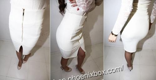 エロ下着の通販商品:ファスナー付のタイトスカート・白P158・素人着用写真7