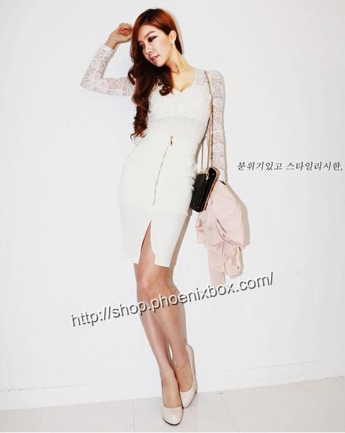 エロ下着の通販商品:ファスナー付のタイトスカート・白P158・素人着用写真2