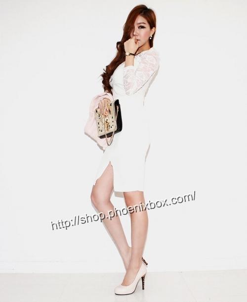 エロ下着の通販商品:ファスナー付のタイトスカート・白P158・素人着用写真4